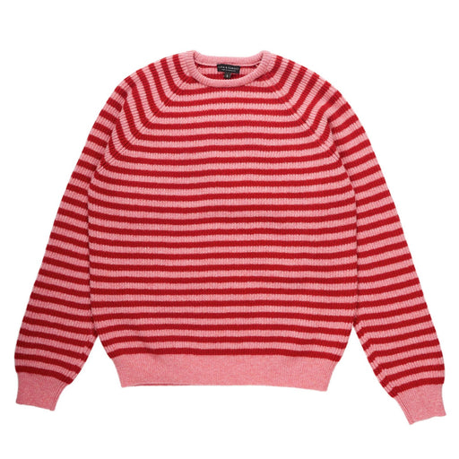 Pink Red Stripe Rib Knit Jumper
