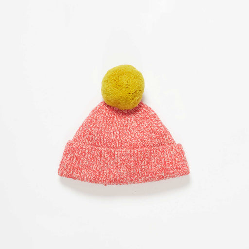 Red Marl Kids Hat With Yellow Pom