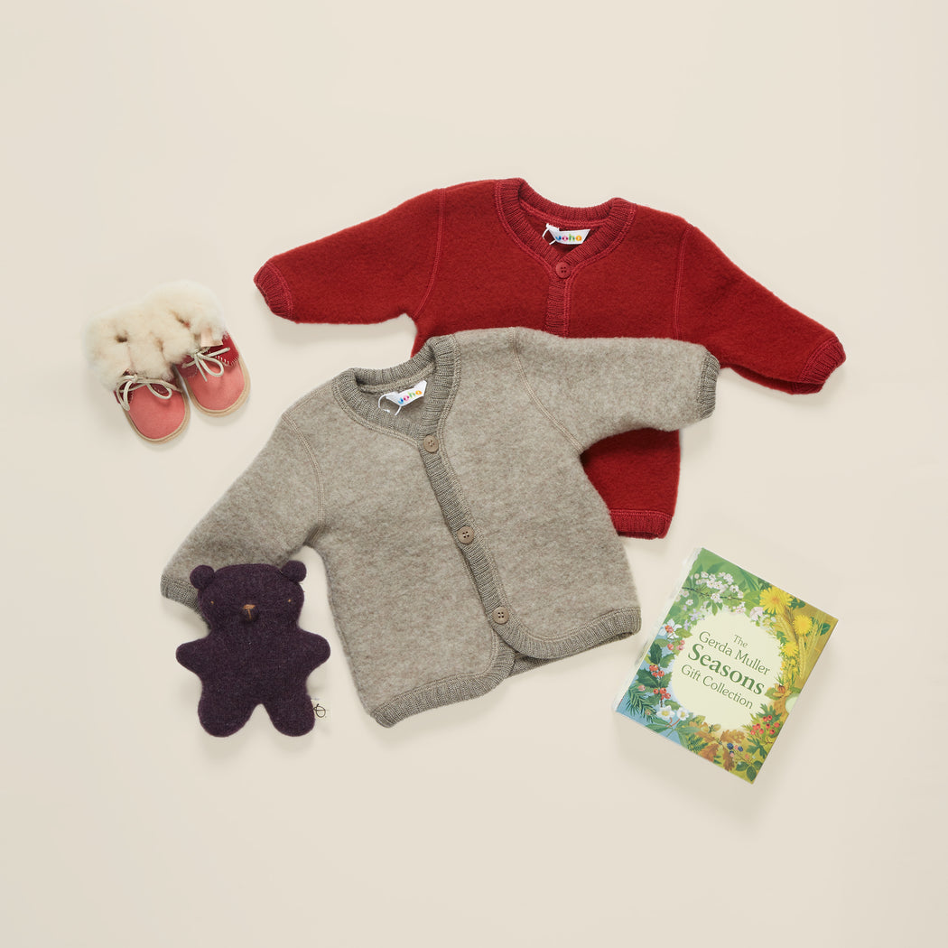 Rust Red Soft Wool Baby Cardigan