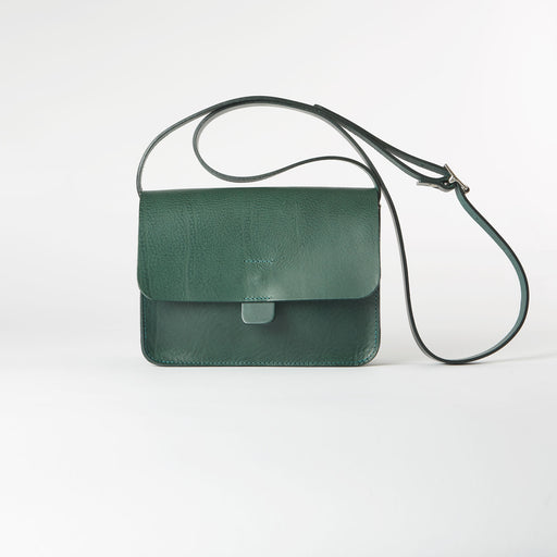 Green Leather Crossbody Tab Bag