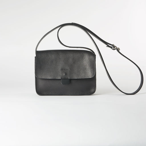Black Soft Leather Crossbody Tab Bag