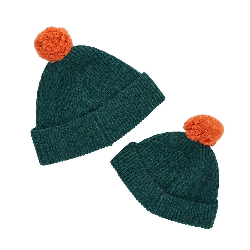 Green Pom Kids Hat