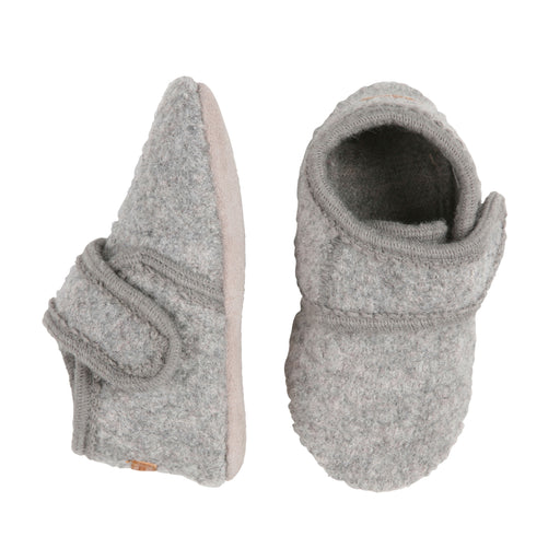 Light Grey Wool Slippers with Velcro Fastening