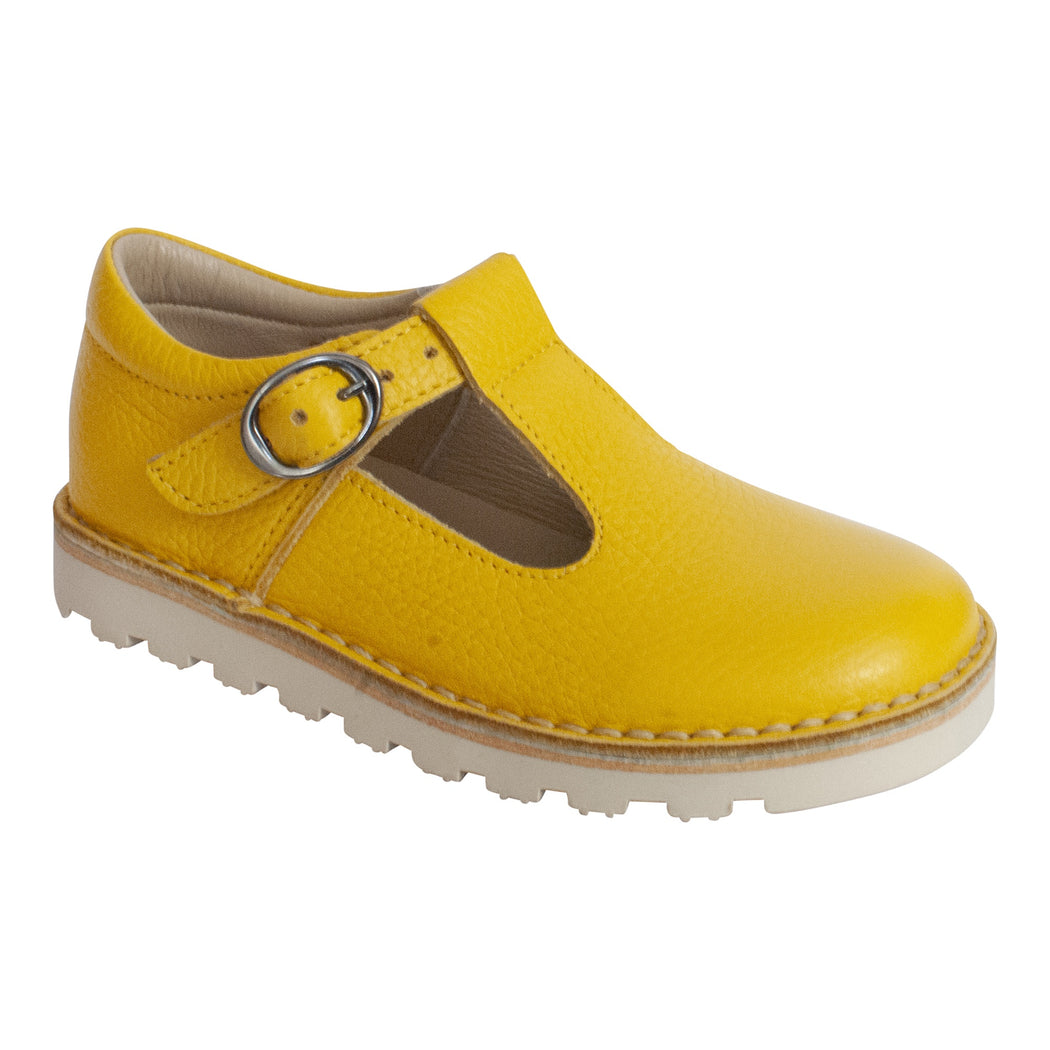 Petasil Cindy Classic Bright Yellow Leather Kids T-Bar Buckle Shoes