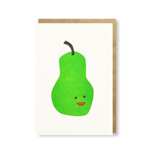 Pear Letterpress Mini Card