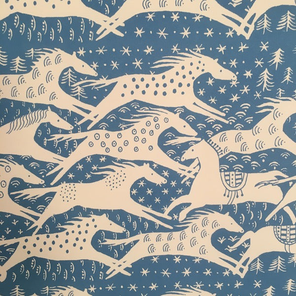 Blue Horses Wrapping Paper