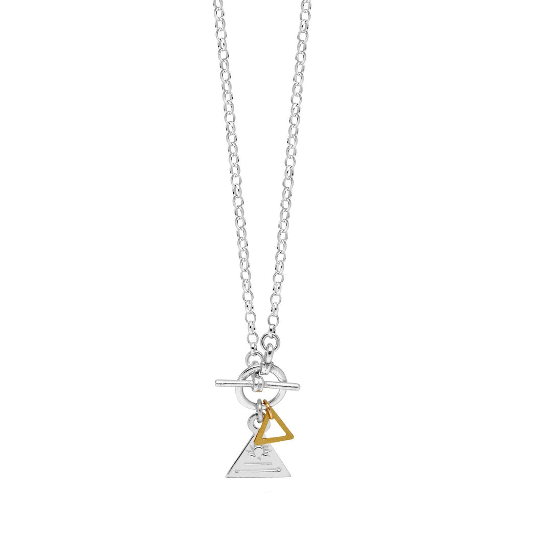 Triangle Bar & Ring Necklace