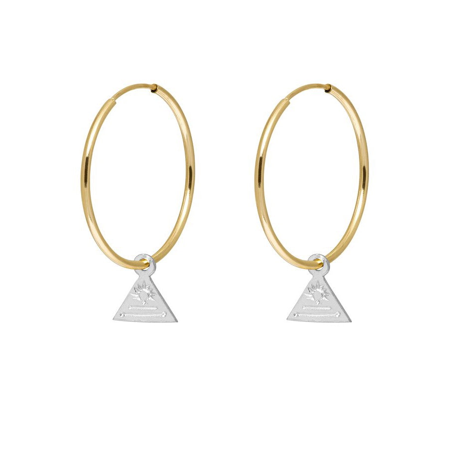 Triangle Token Hoop Earrings