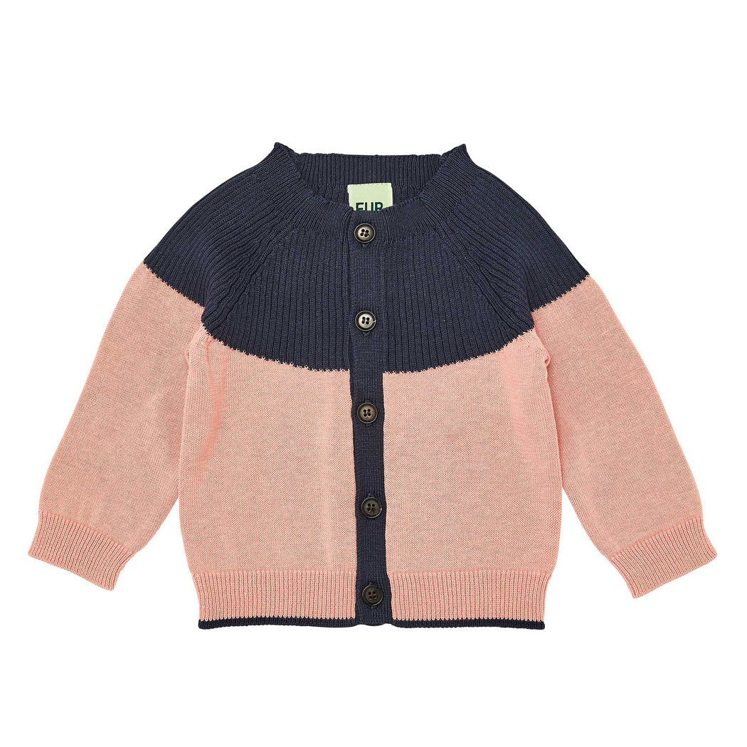 Pink & Navy Organic Cotton Baby Cardigan