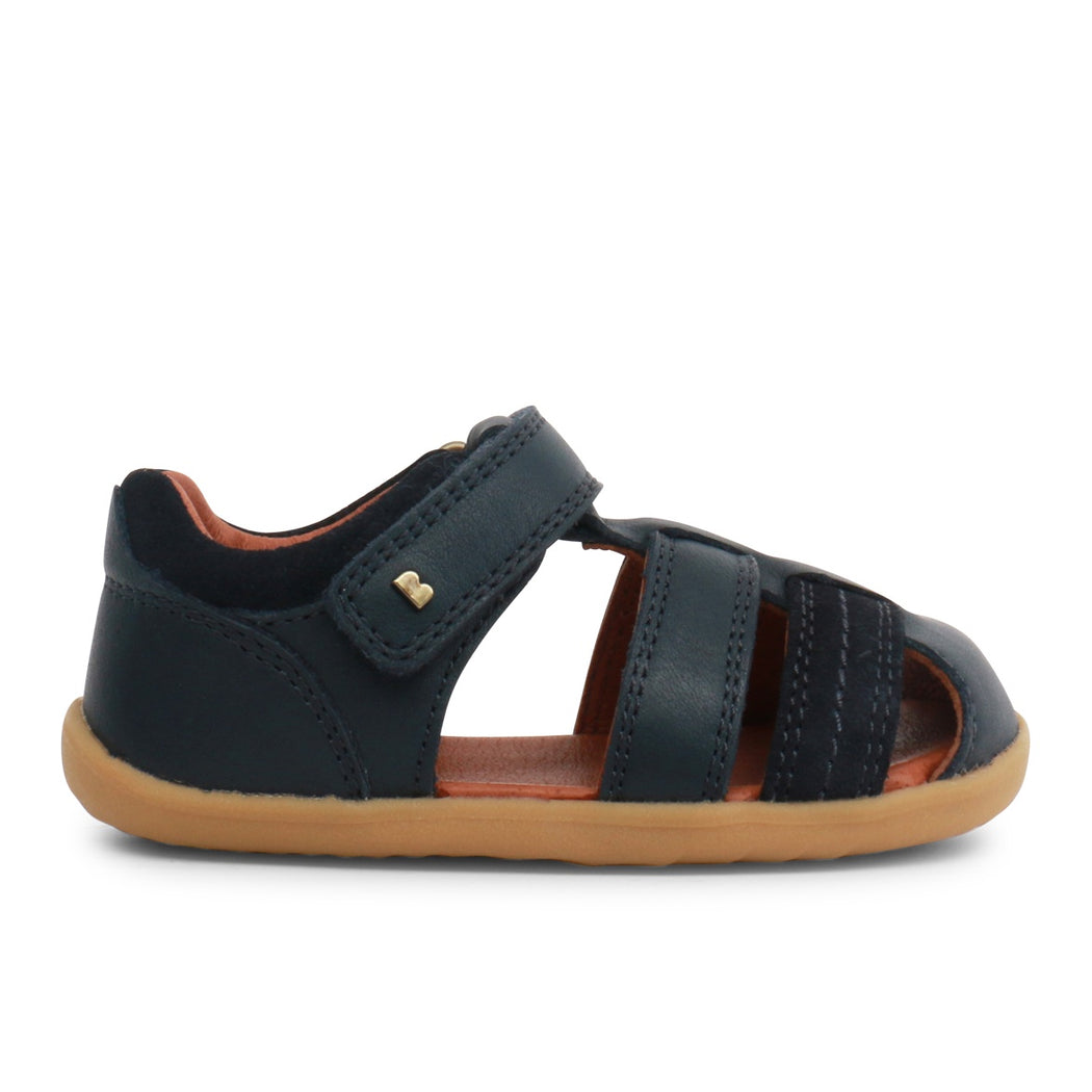 Bobux Navy Step Up Velcro Closed Toe Sandals