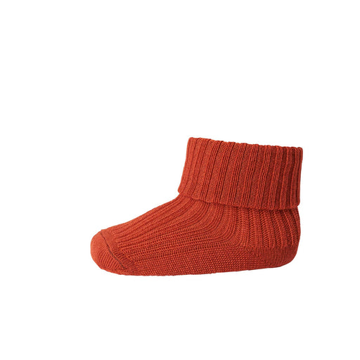 Rust Red Baby Rib Wool Socks