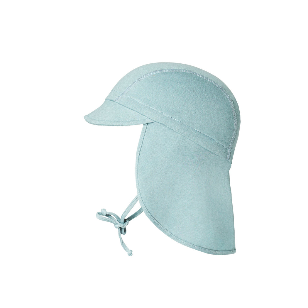Sea Blue Cotton Hat with Neck Shade