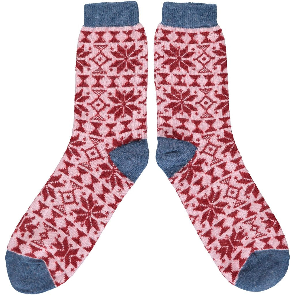 Red & Denim Blue Fairisle Wool Socks
