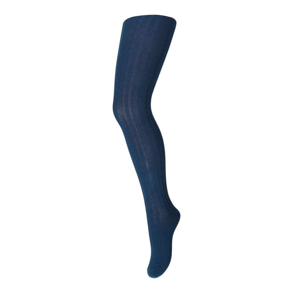 Blue Ribbed Cotton Kids Tights