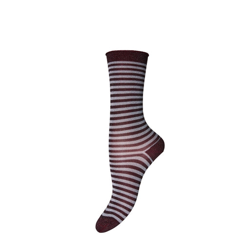 Burgundy Stripe Glitter Socks