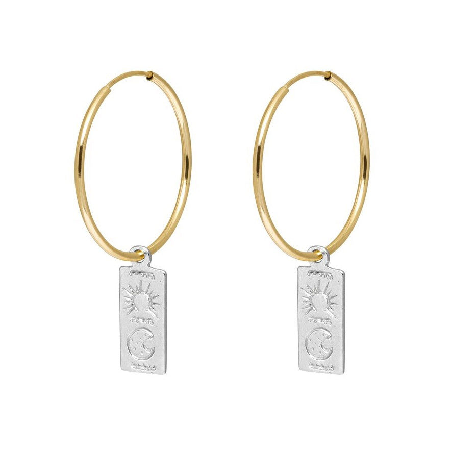 Rectangle Token Hoop Earrings