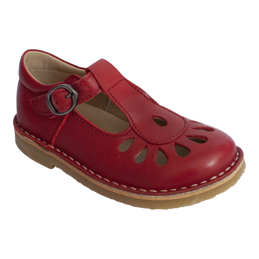 Classic red leather T-bar shoe with teardrop cutout detail.