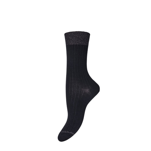 Black Glitter Trim Wool Socks