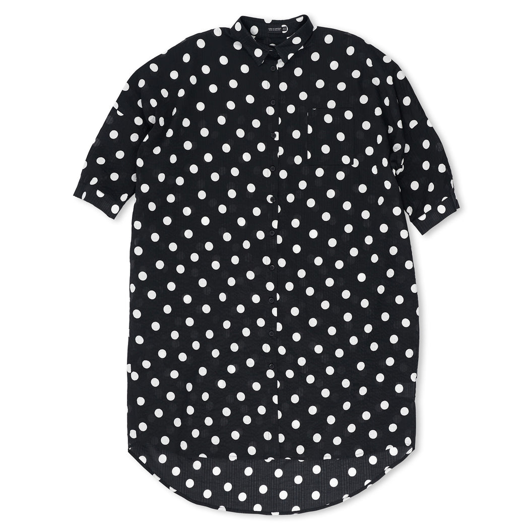 Black & White Spotted Shirt Dress