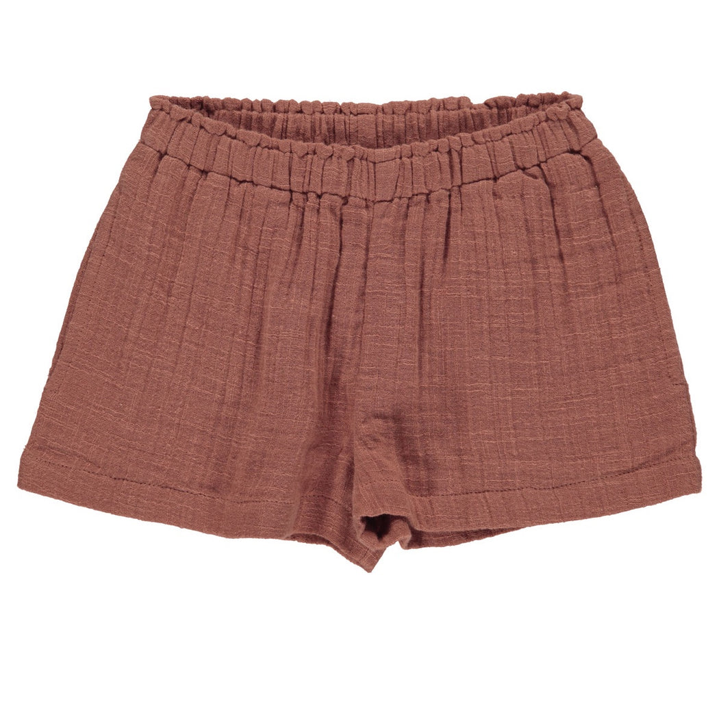 Dusty Brick Muslin Kids Shorts