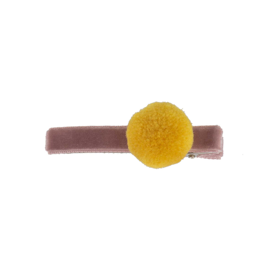 Dusty Pink Velvet Alligator Clip with Yellow PomPom