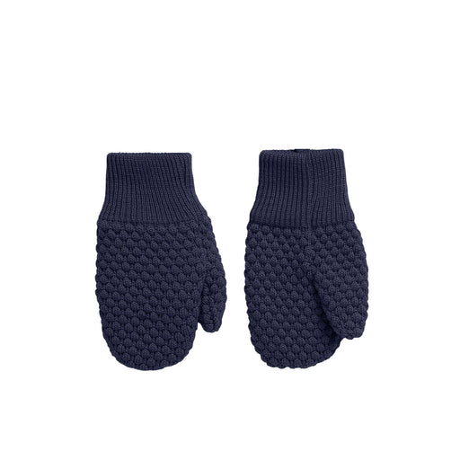 Dark Navy Textured Knit Baby Mittens