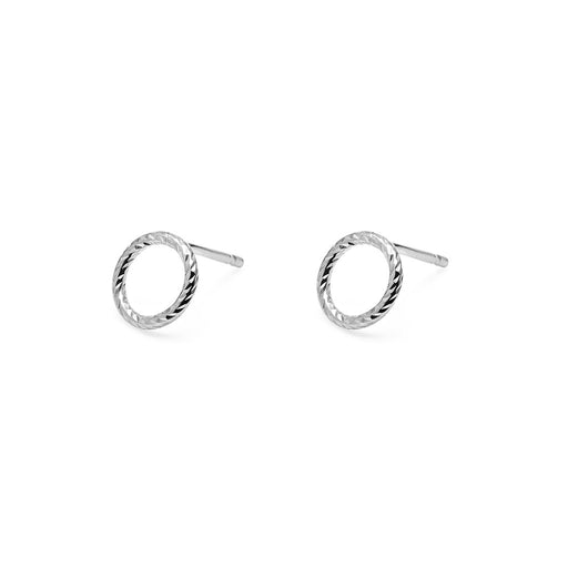 Mini Circle Diamond Stud Earrings