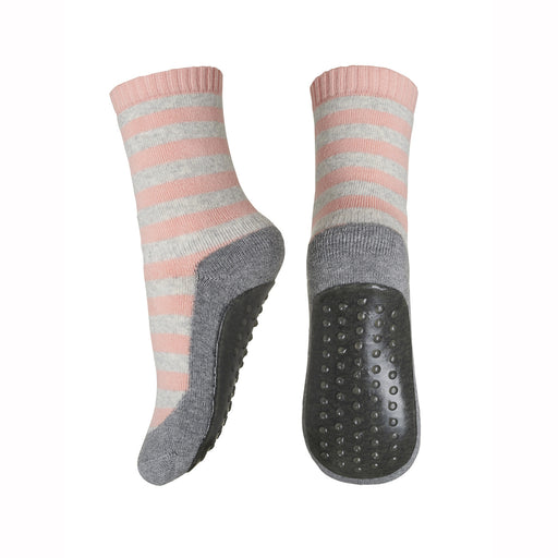 Baby Peach Stripe Rubber Soled Socks