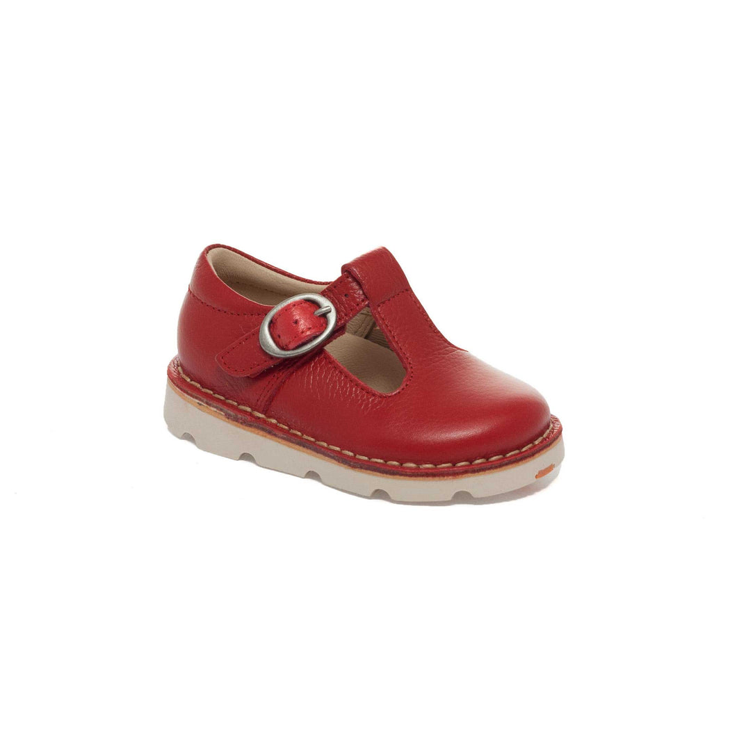 Petasil Crosspatch Red Toddler T-Bar Shoes