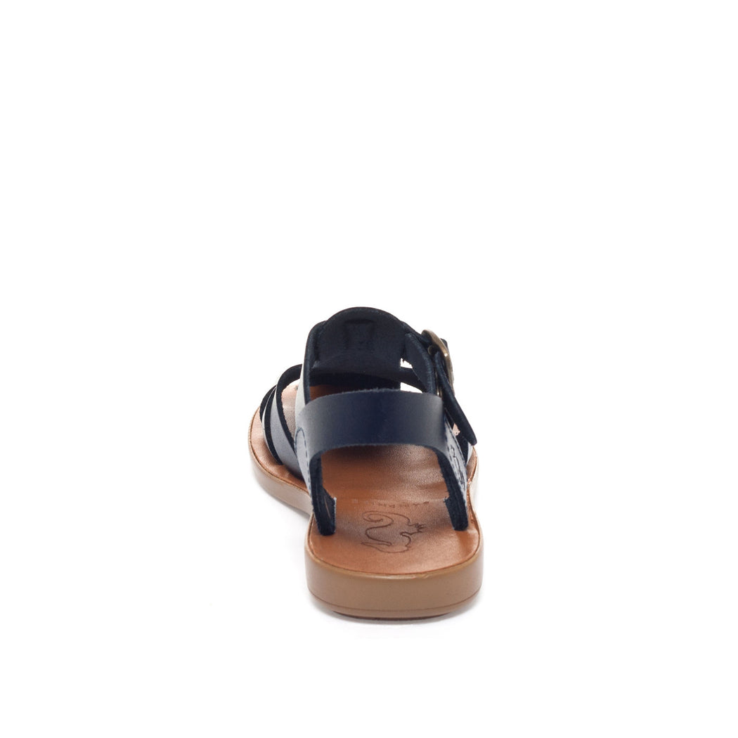 Navy Leather Closed Toe Sandal