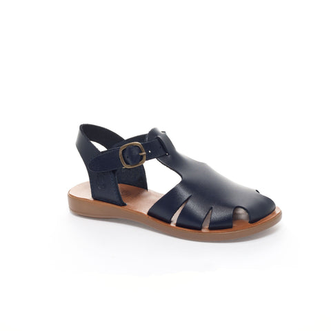 Kids Navy Leather Closed Toe Sandal