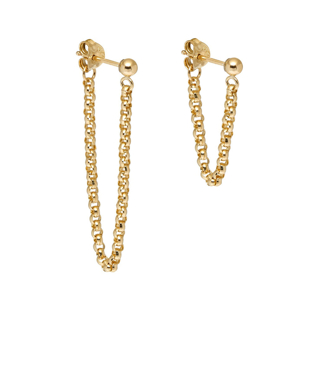 Single Long Chain Loop Stud Earrings