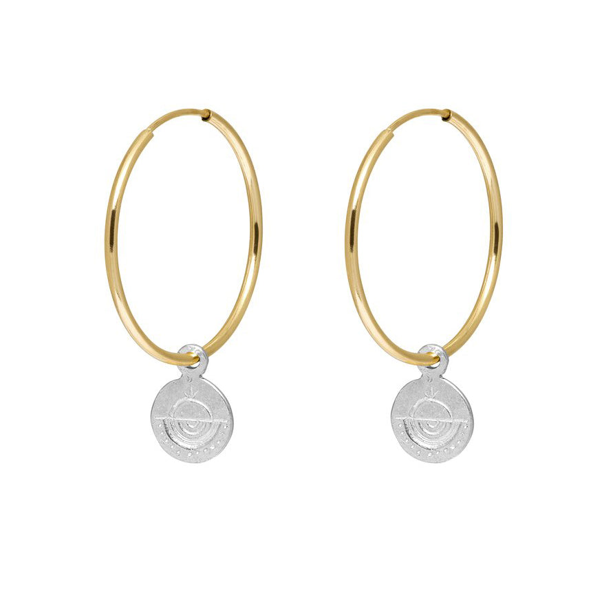 Circle Token Hoop Earrings