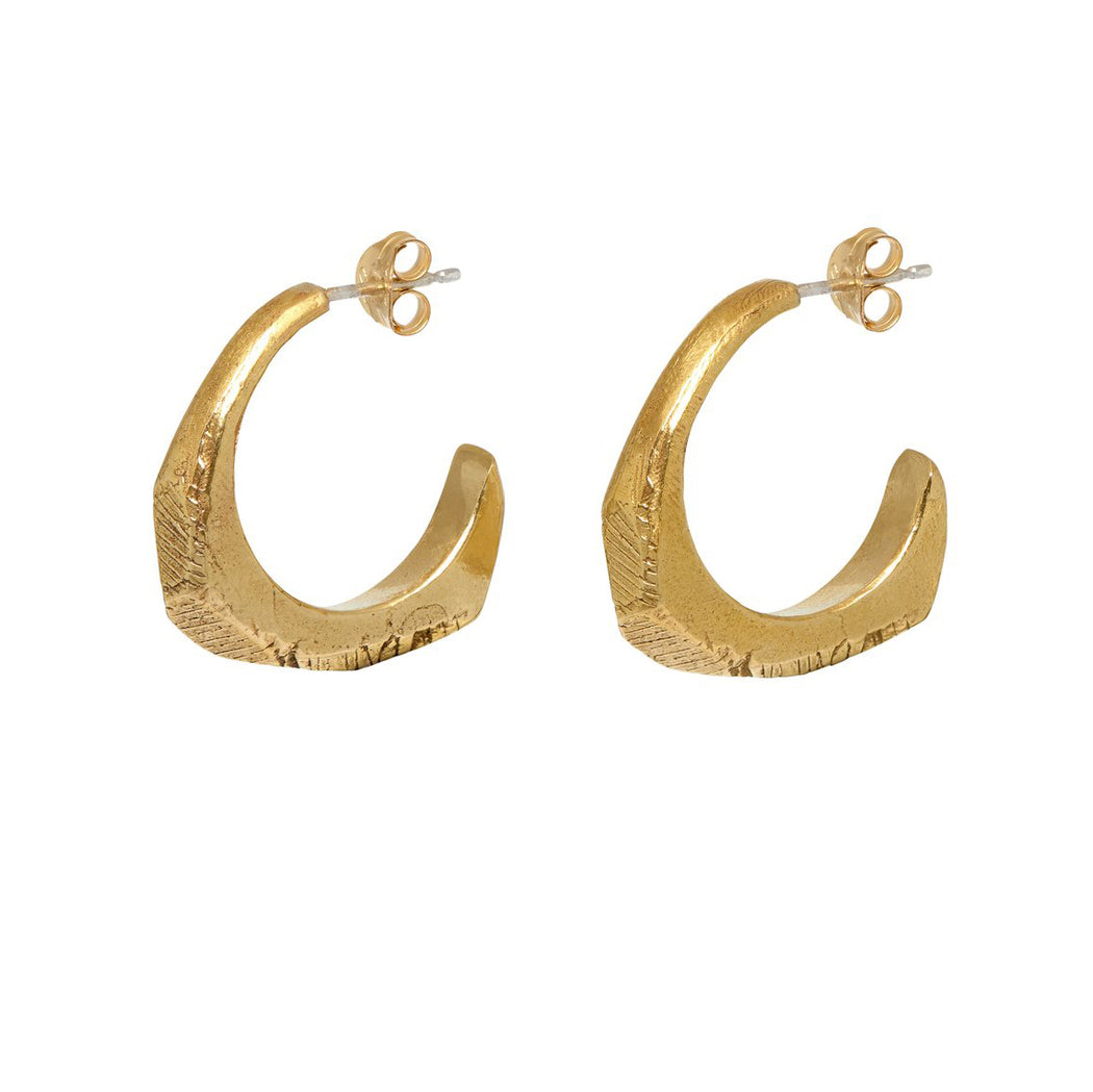 Carved Hoop Stud Earrings