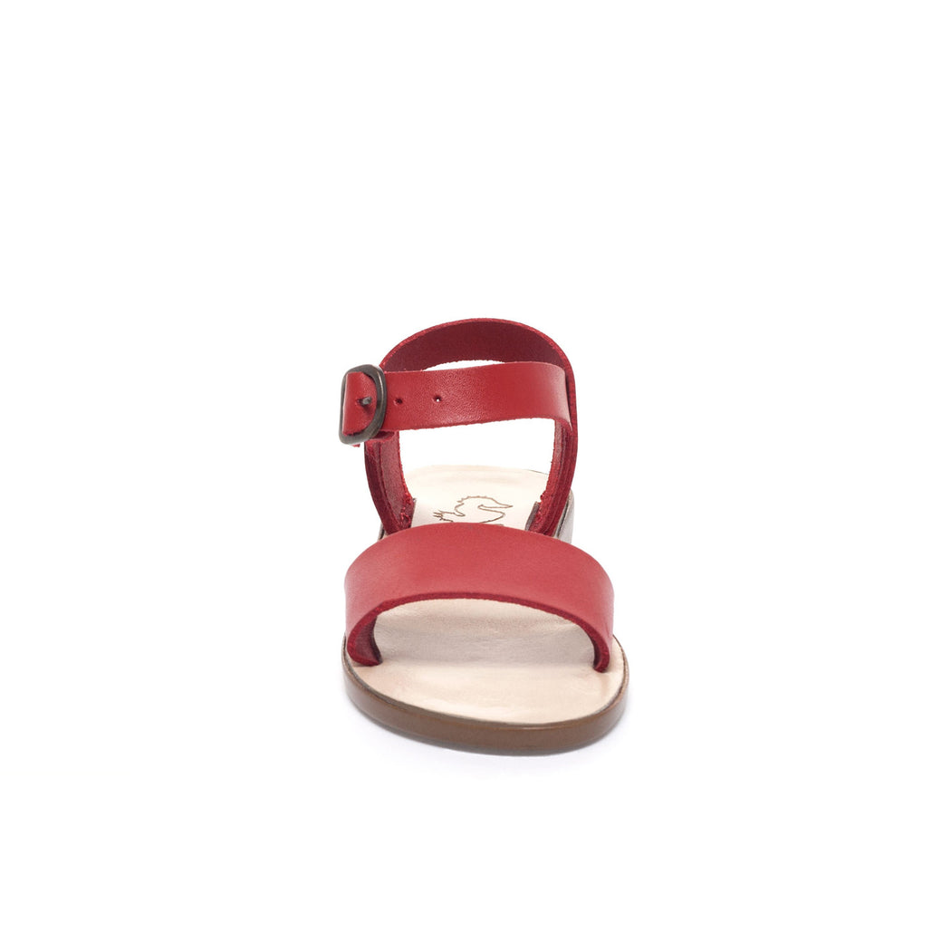 Red Leather Open Toe Sandal
