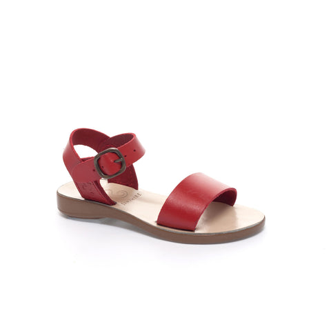 Kids Red Leather Open Toe Sandal