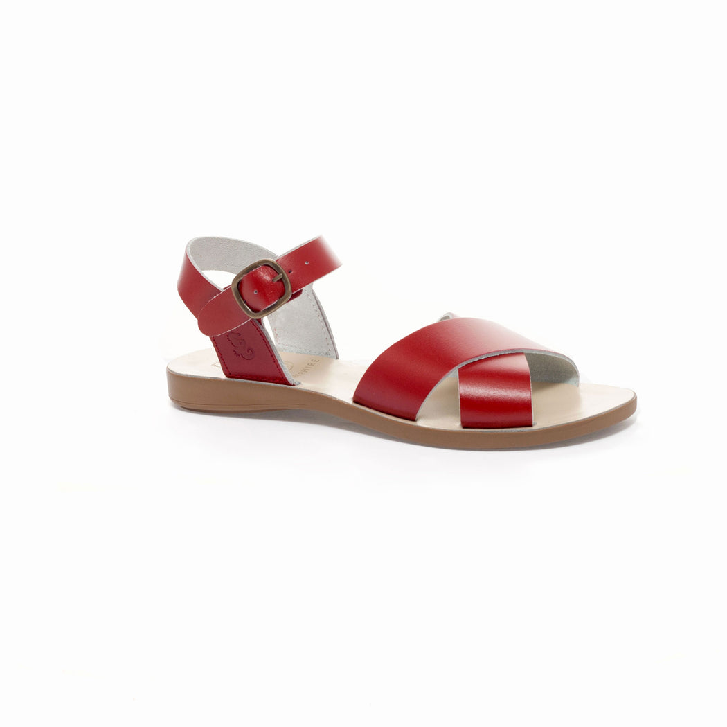 Red Leather Cross Toe Sandal