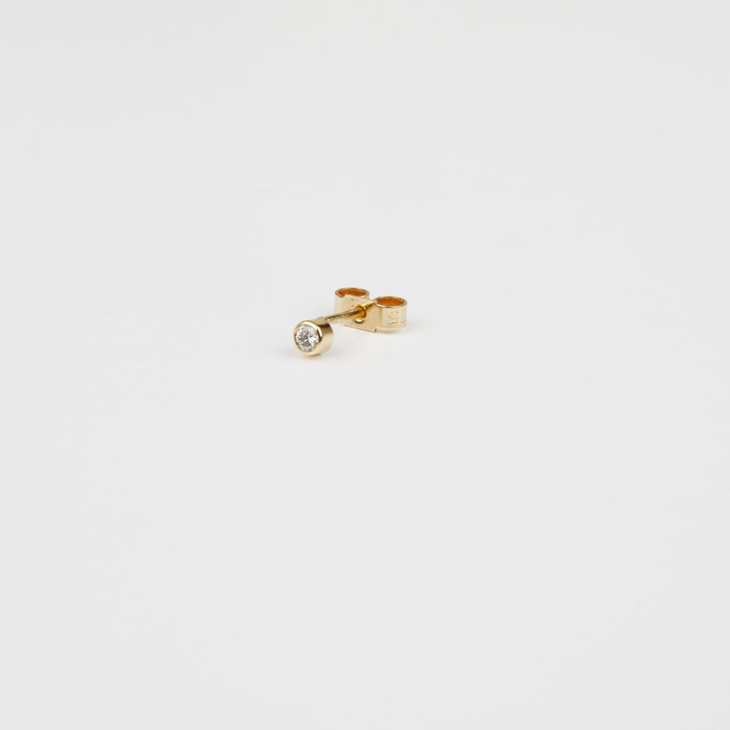 Single Diamond Dot Stud Earring