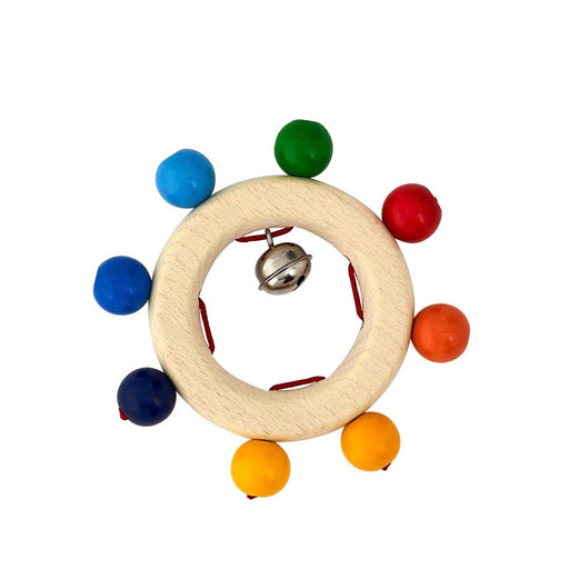 Wooden Rainbow Beads Baby Ring Rattle