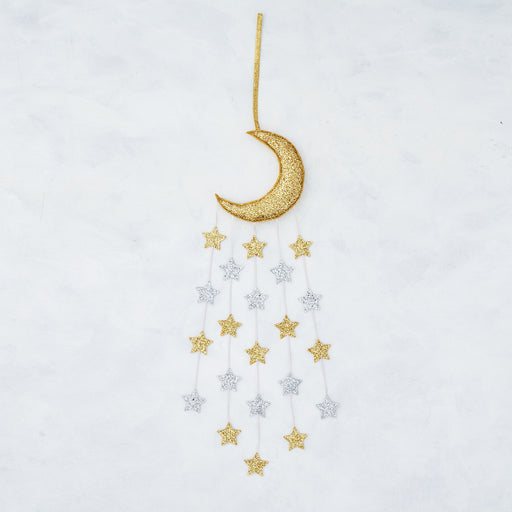 Gold Sparkle Moon & Stars Mobile