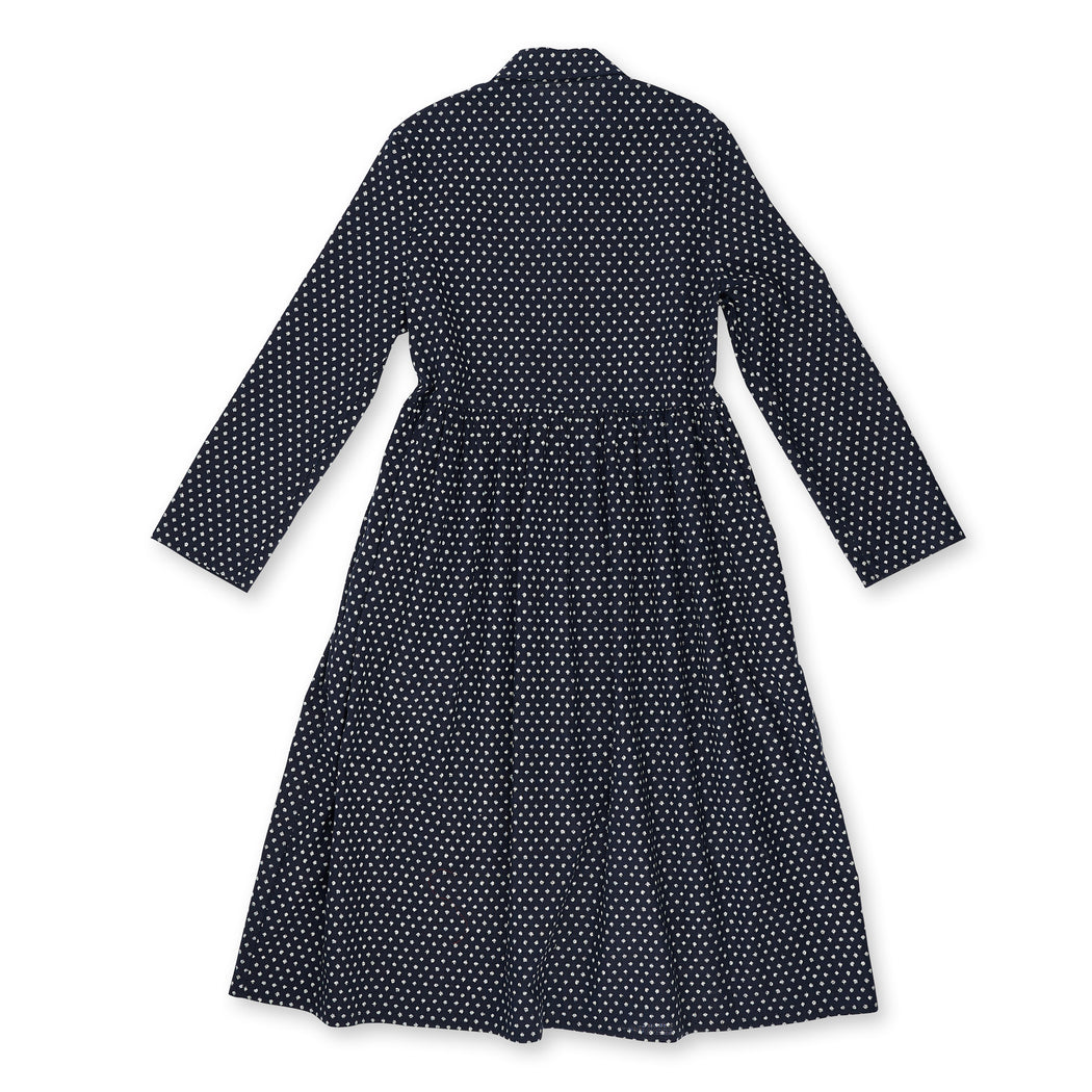 Navy Spotted Long Sleeve Dress