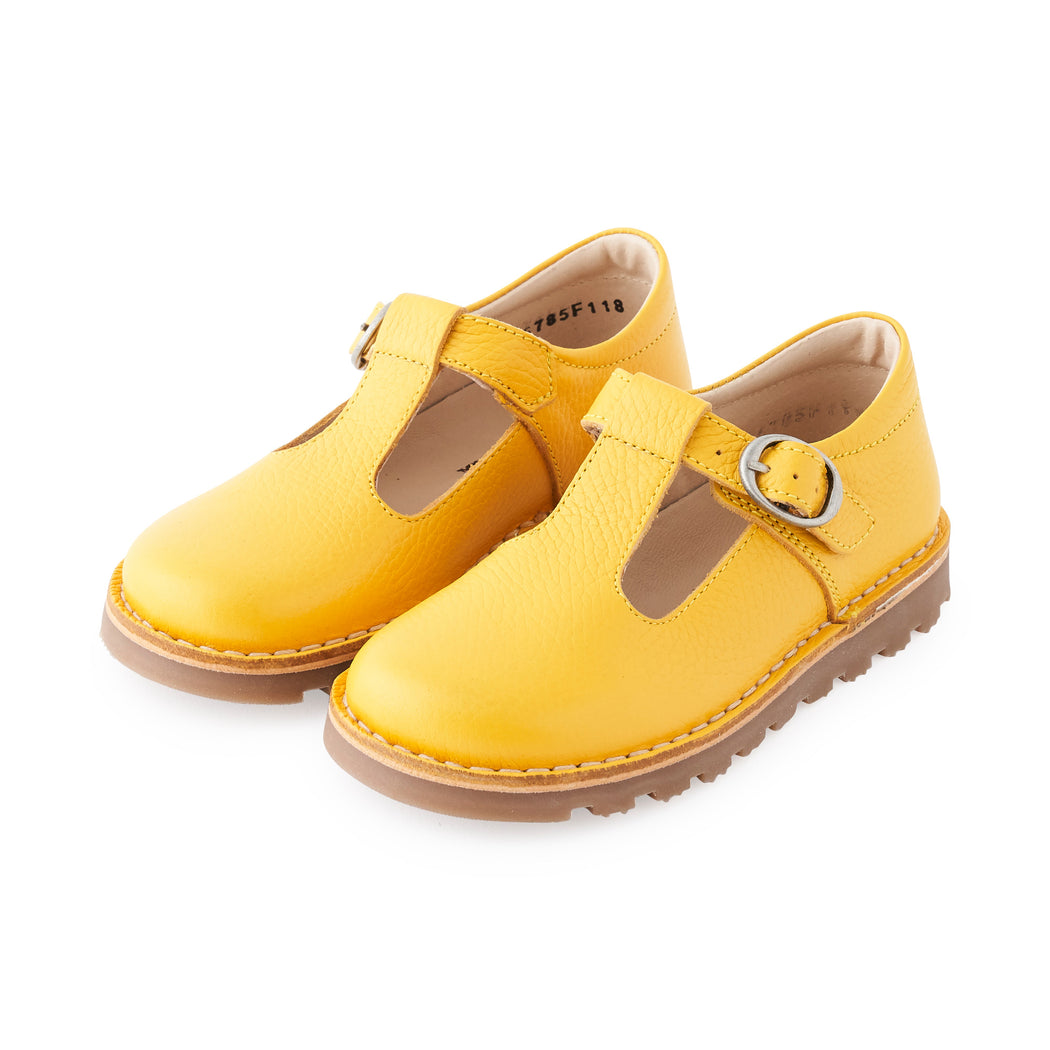 Petasil Cindy Yellow Kids T-Bar Shoes