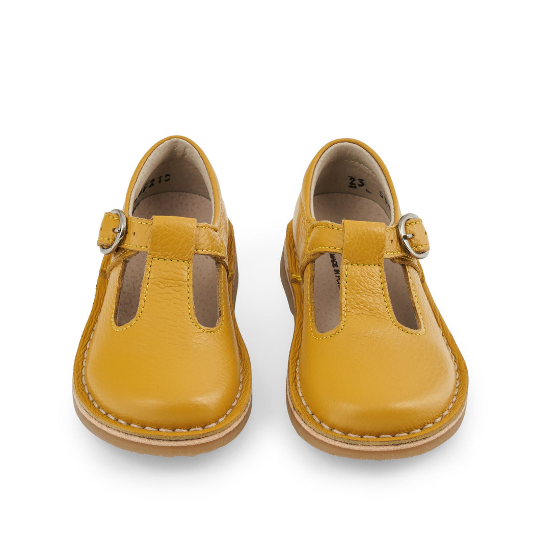 Mustard Leather Toddler T-Bar Shoes