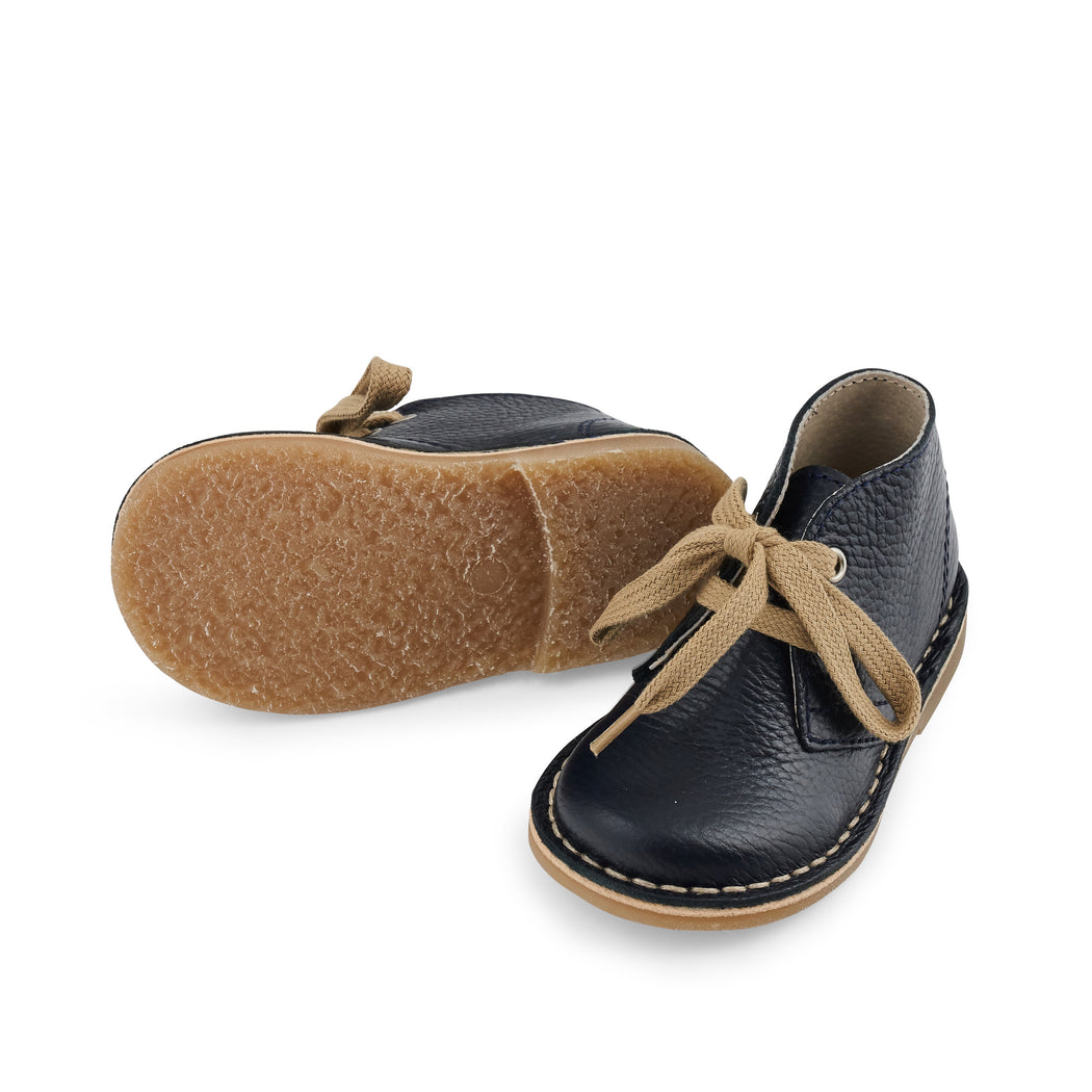 Navy Leather Kids Lace Up Boots