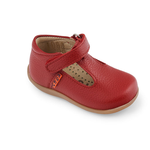 Bright Red Leather First Steps T-Bar Shoes