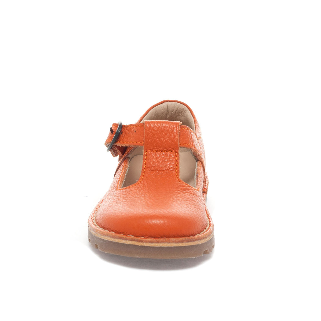 Petasil Cindy Classic Orange Leather Kids T-Bar Buckle Shoes