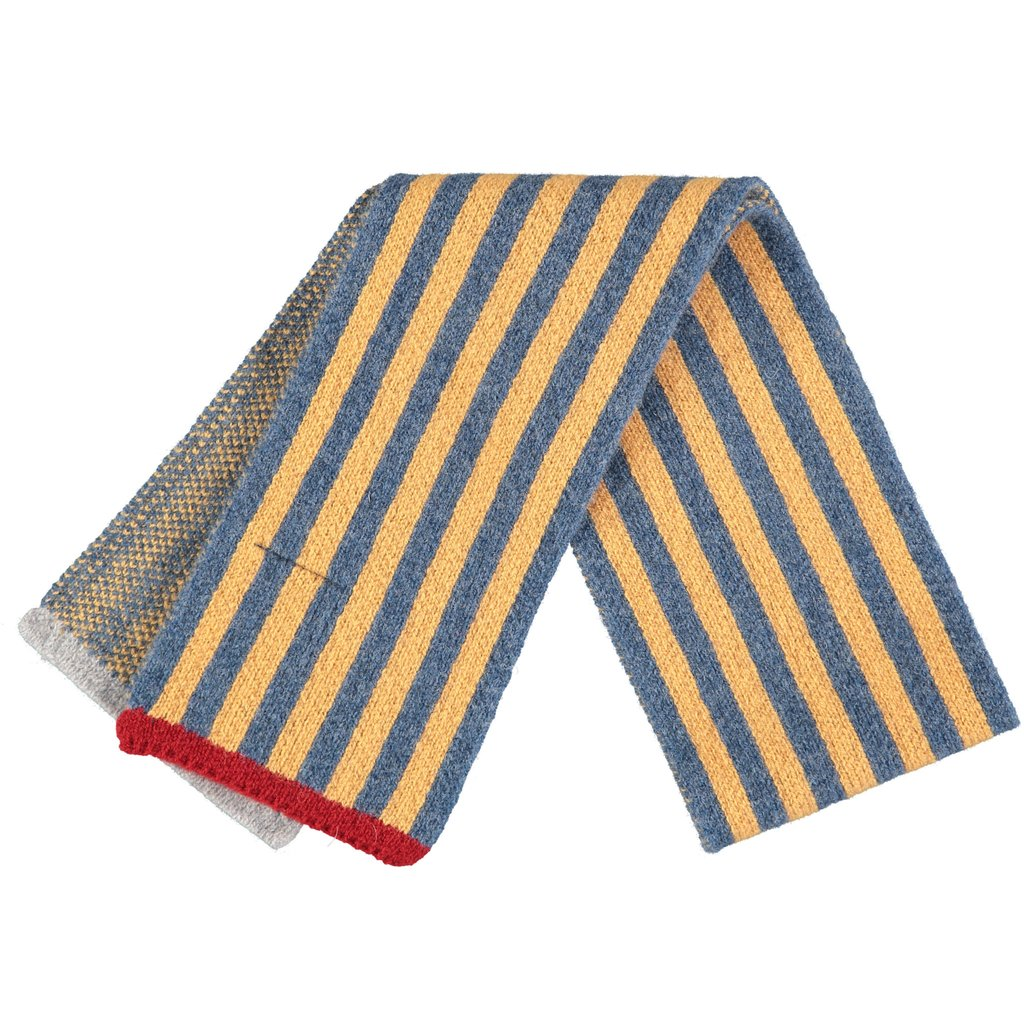Denim & Gold Striped Kids Wool Scarf