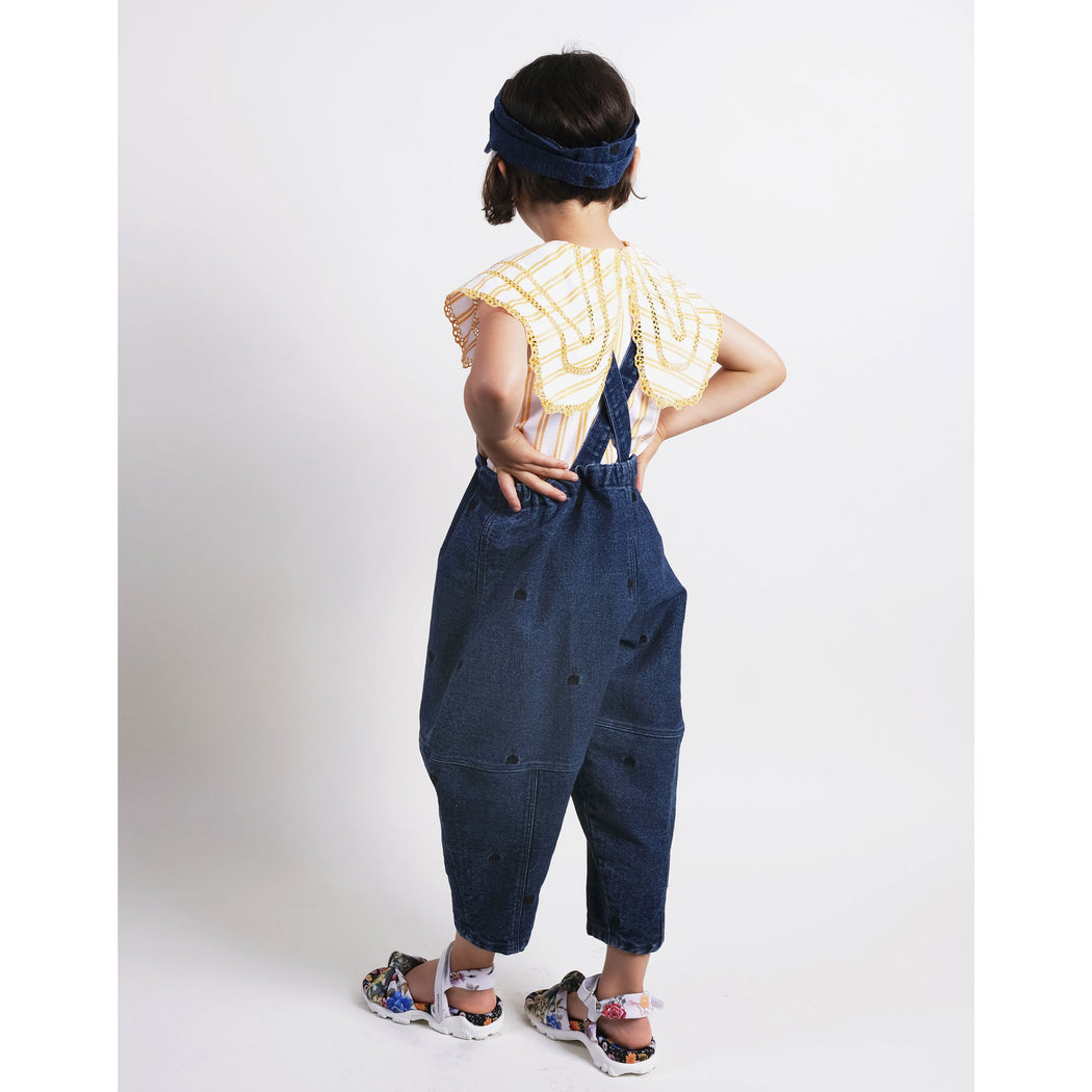 Embroidered Denim Trousers with Braces