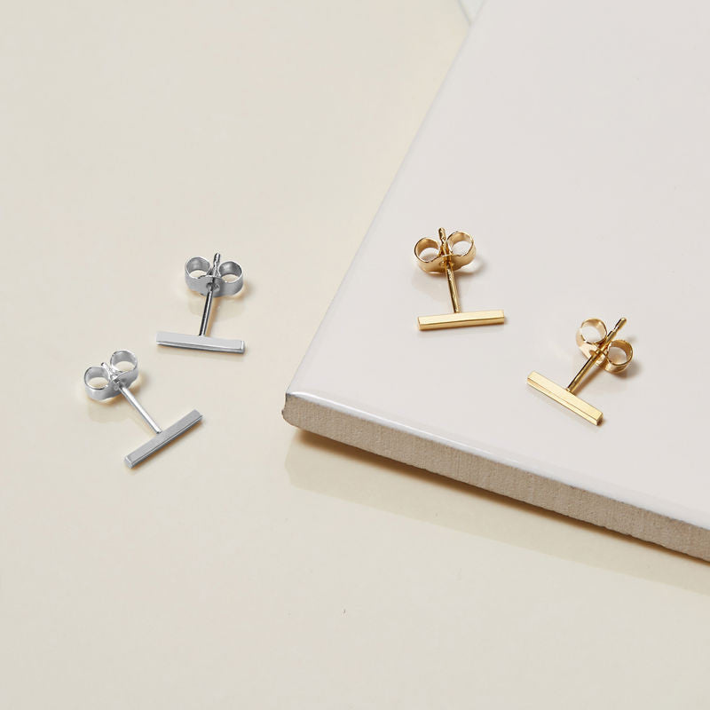 Square Bar Stud Earrings
