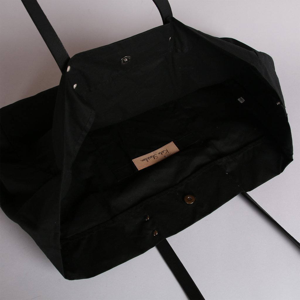 Black Waxed Cotton Tote Bag